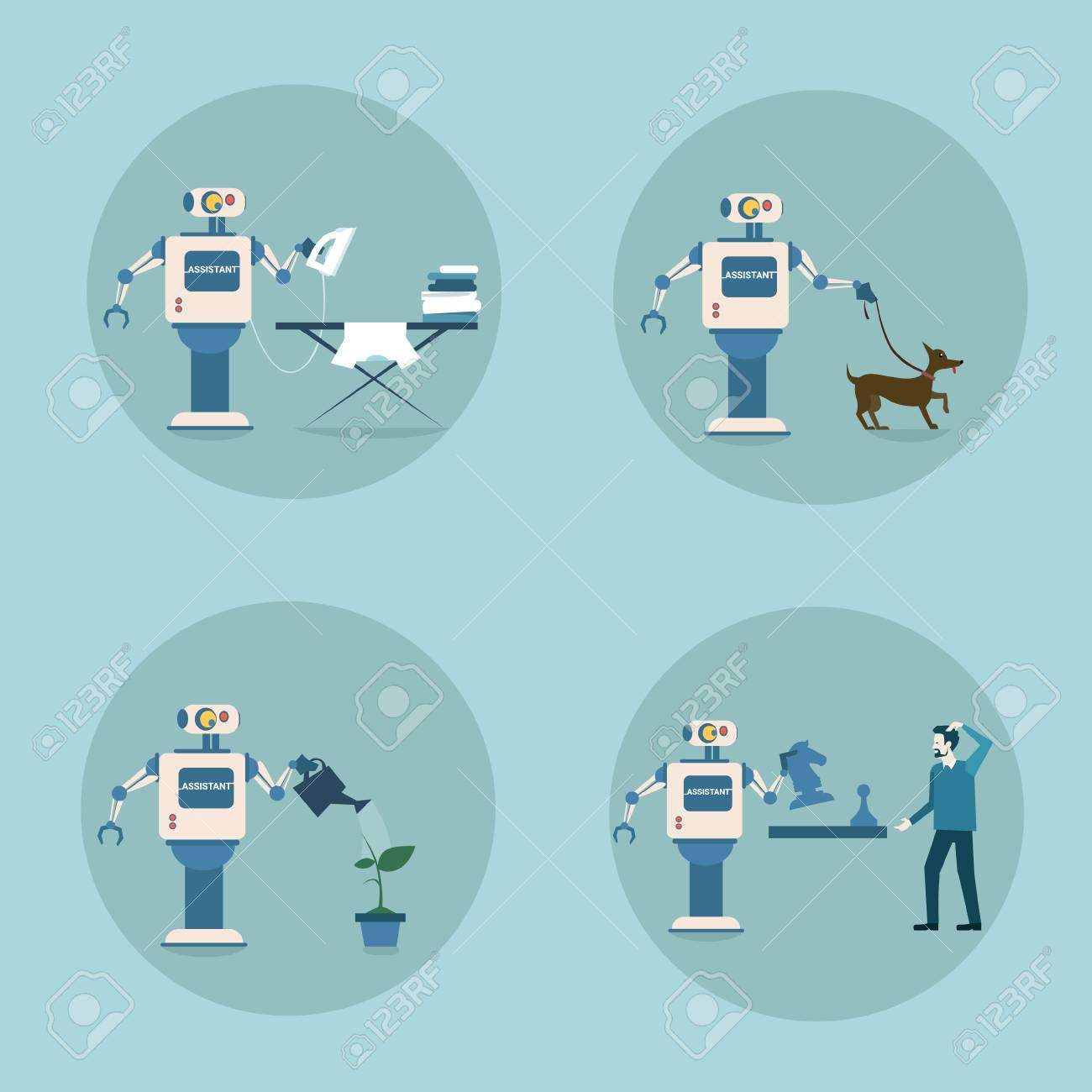 Modern Robot Icon Set Futuristic Artificial Intelligence Mechanism
