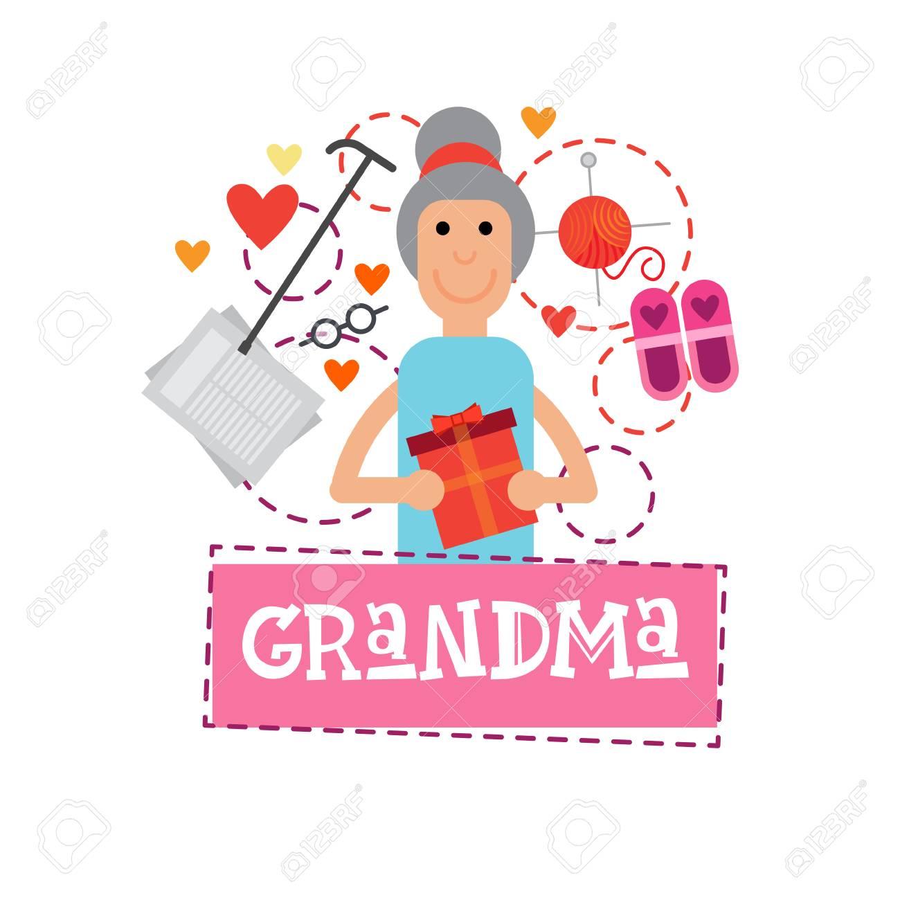 Grandmother holding present box happy grandparents day greeting grandmother holding present box happy grandparents day greeting card banner vector illustration stock vector 85196319 m4hsunfo