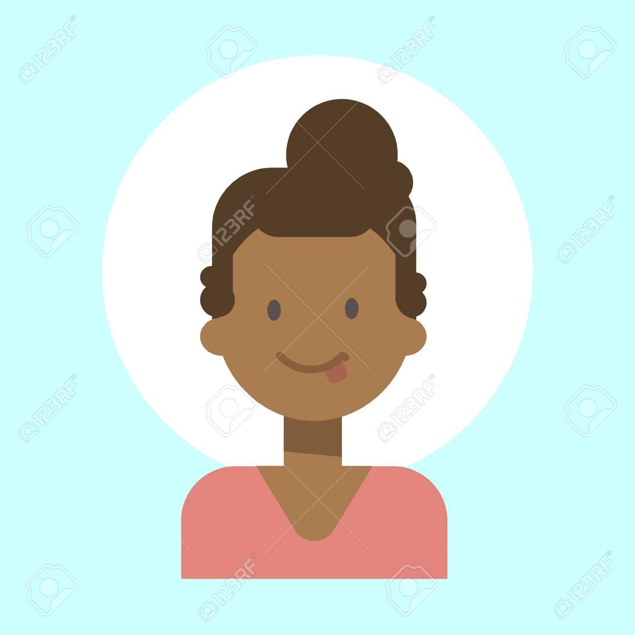Afro Américaine Femme Projection Langue émotion Profil Icône