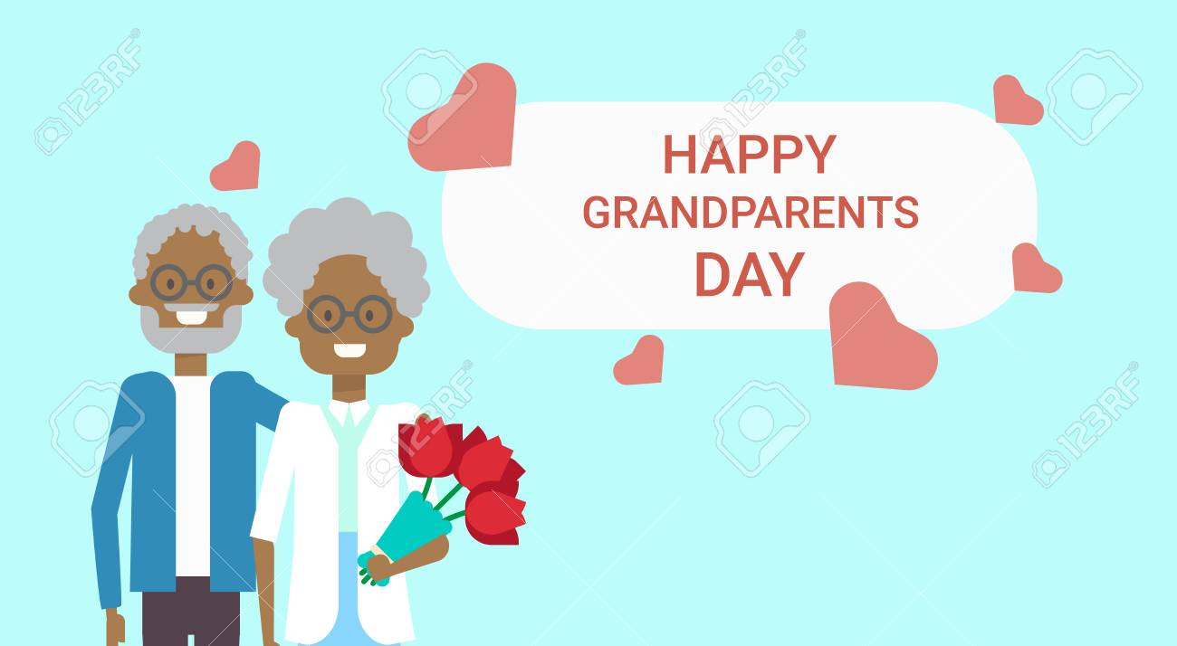 Happy grandparents day greeting card holiday banner african american happy grandparents day greeting card holiday banner african american grandfather and grandmother couple together vector illustration m4hsunfo
