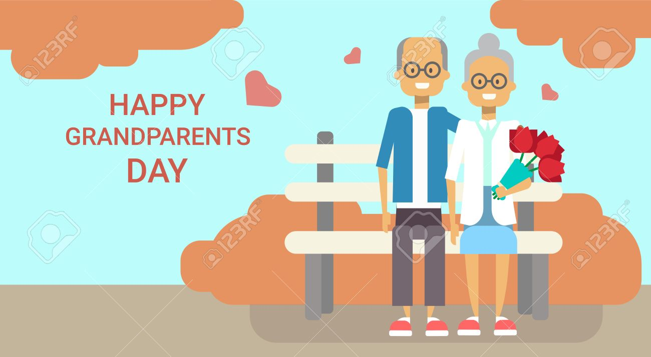 Happy grandparents day greeting card holiday banner grandfather happy grandparents day greeting card holiday banner grandfather and grandmother couple sitting on bench together vector m4hsunfo