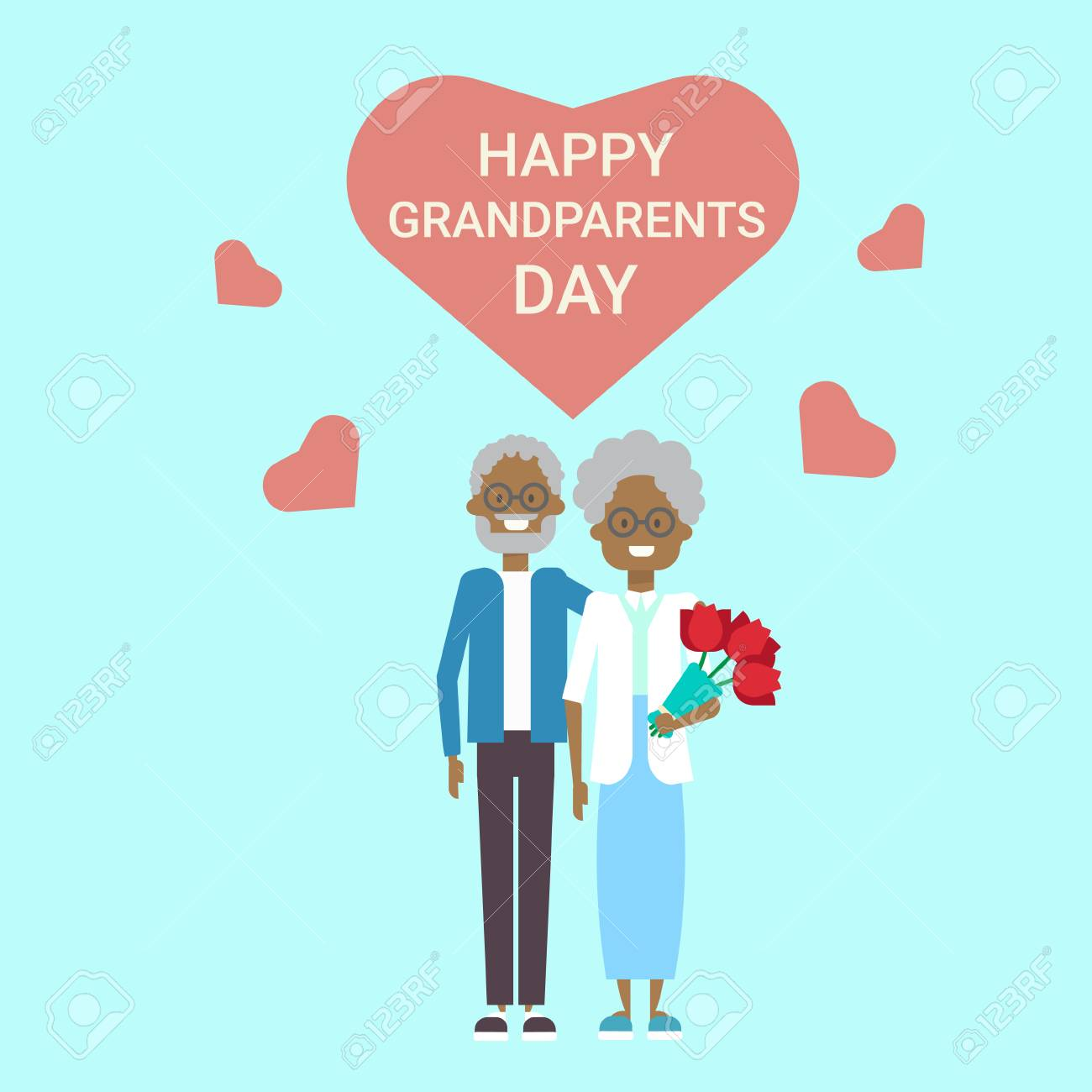 Happy Grandparents Day Greeting Card Holiday Banner African American
