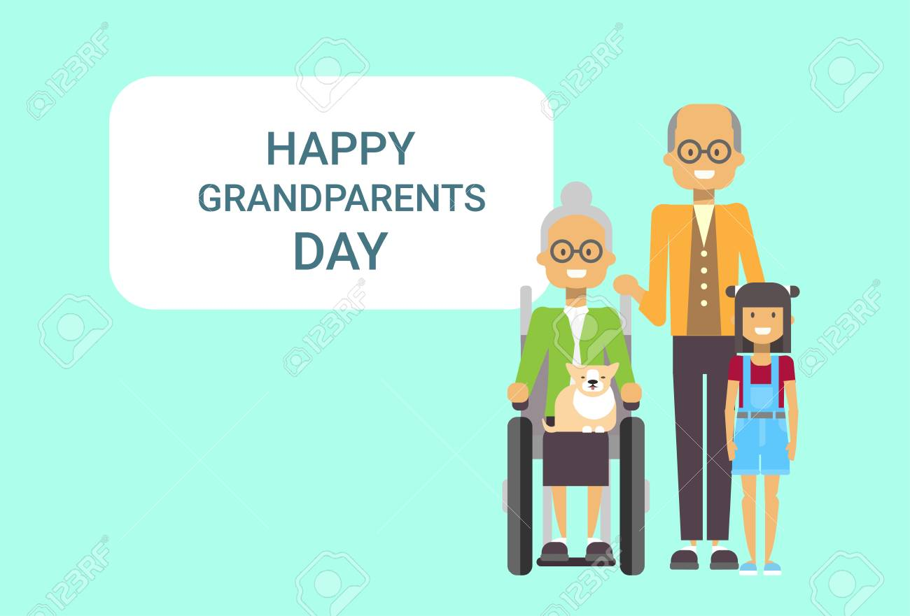 Happy grandparents day greeting card banner grandfather and happy grandparents day greeting card banner grandfather and grandmother with grandchild together vector illustration stock vector m4hsunfo