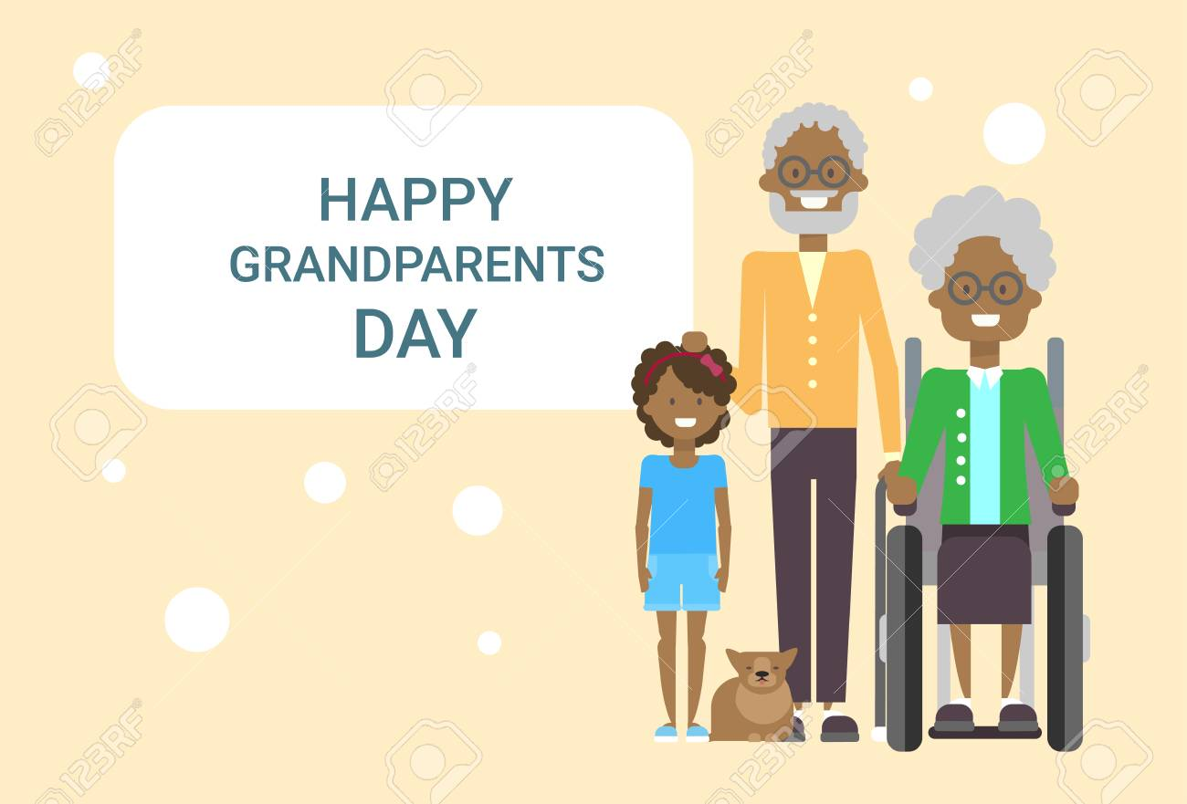 Happy Grandparents Day Greeting Card Banner African American