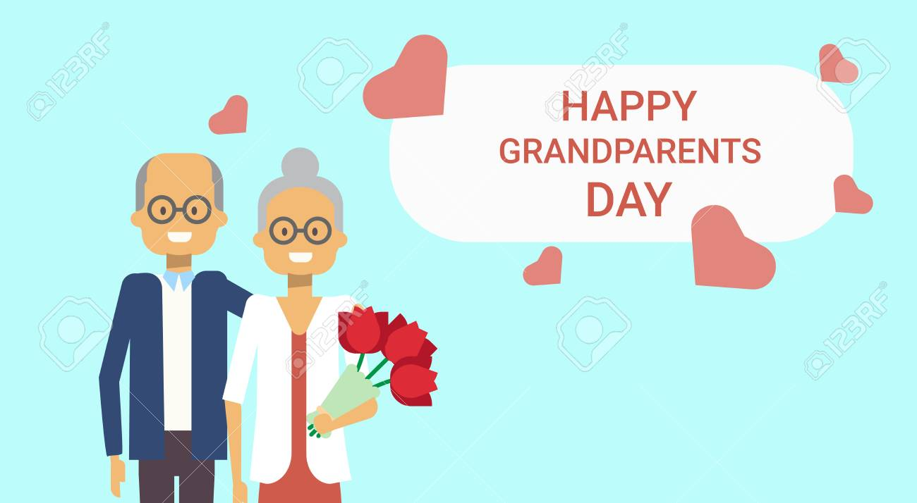 Happy grandparents day greeting card holiday banner grandfather happy grandparents day greeting card holiday banner grandfather and grandmother couple together vector illustration stock vector m4hsunfo
