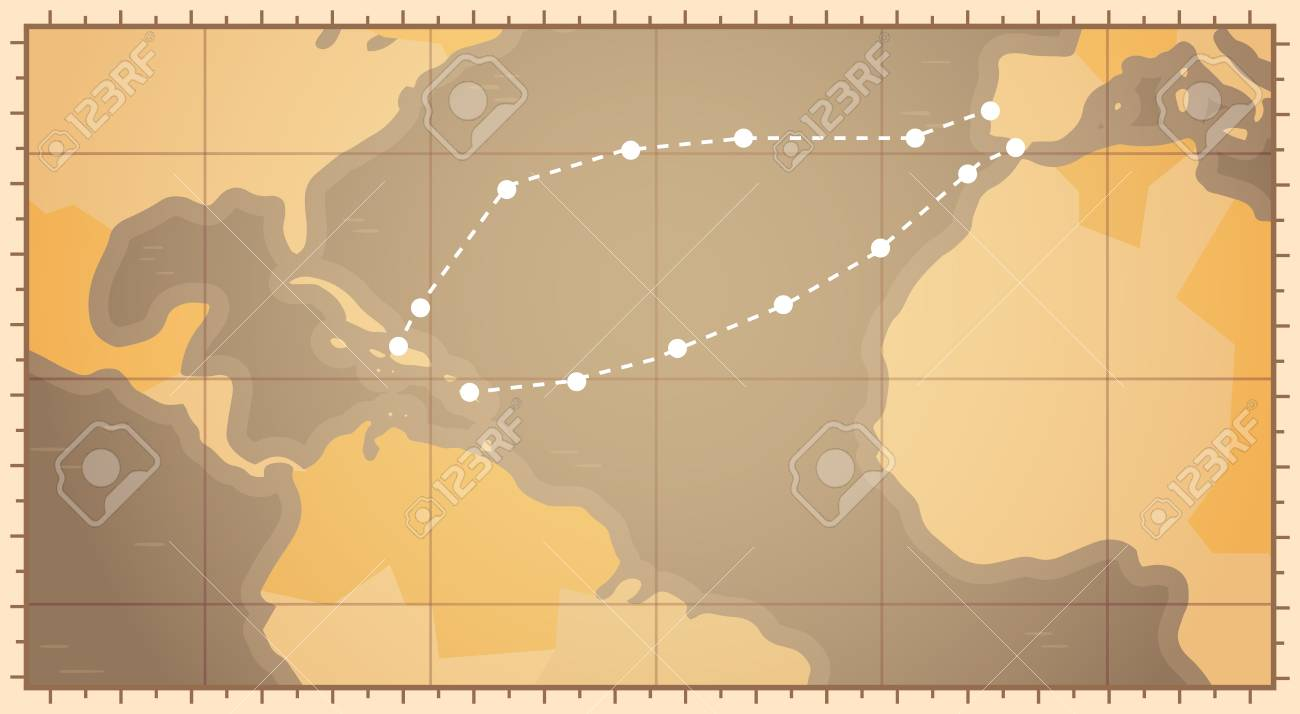 Retro World Map With Columbus Route Royalty Free Cliparts Vectors