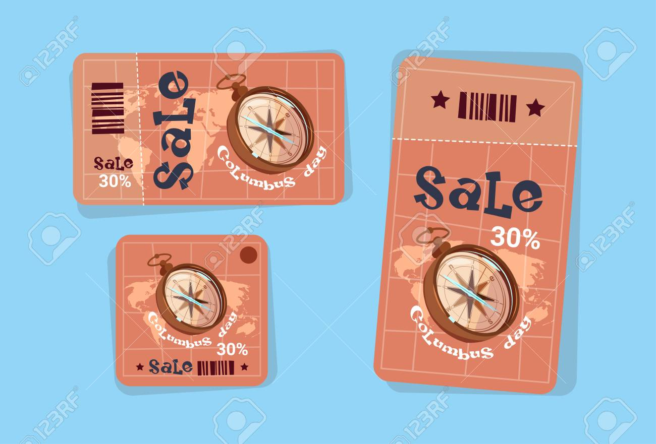 Columbus Day Seasonal Holiday Sale Tags Shopping Discount Icons