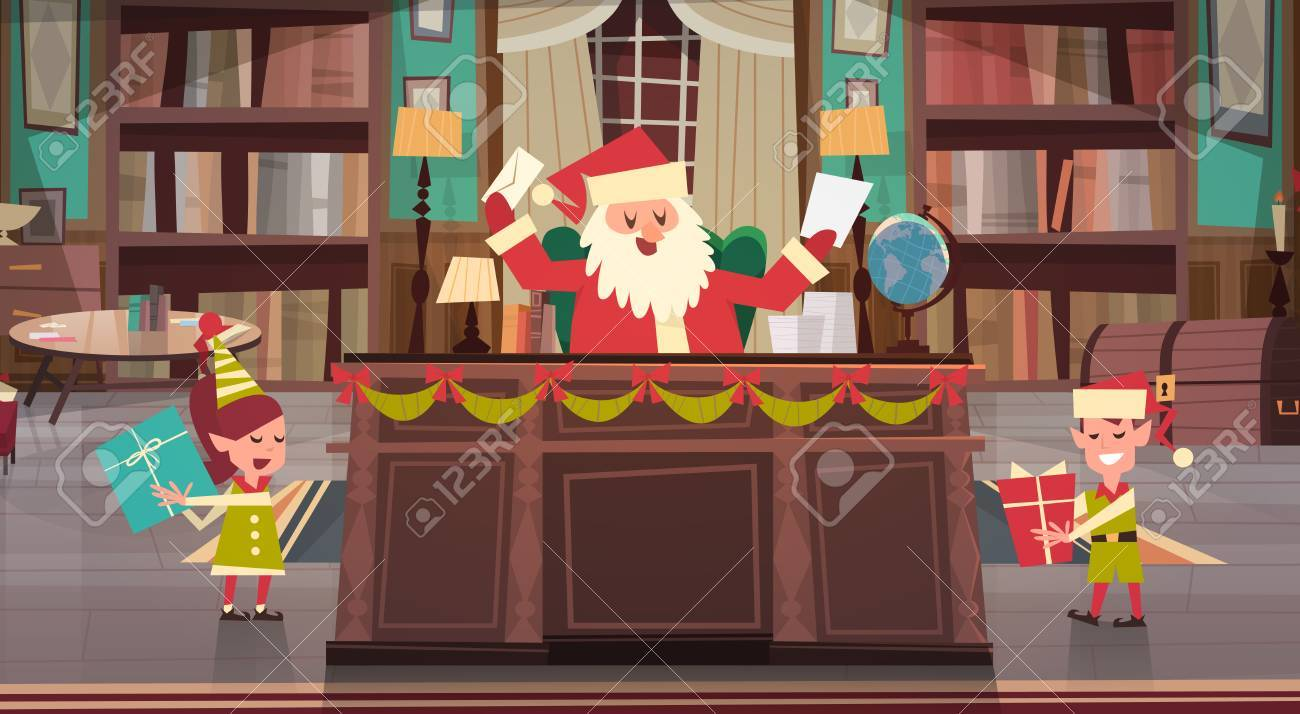 Santa Claus Working With Elfs In Office Room Getting Merry Christmas ...