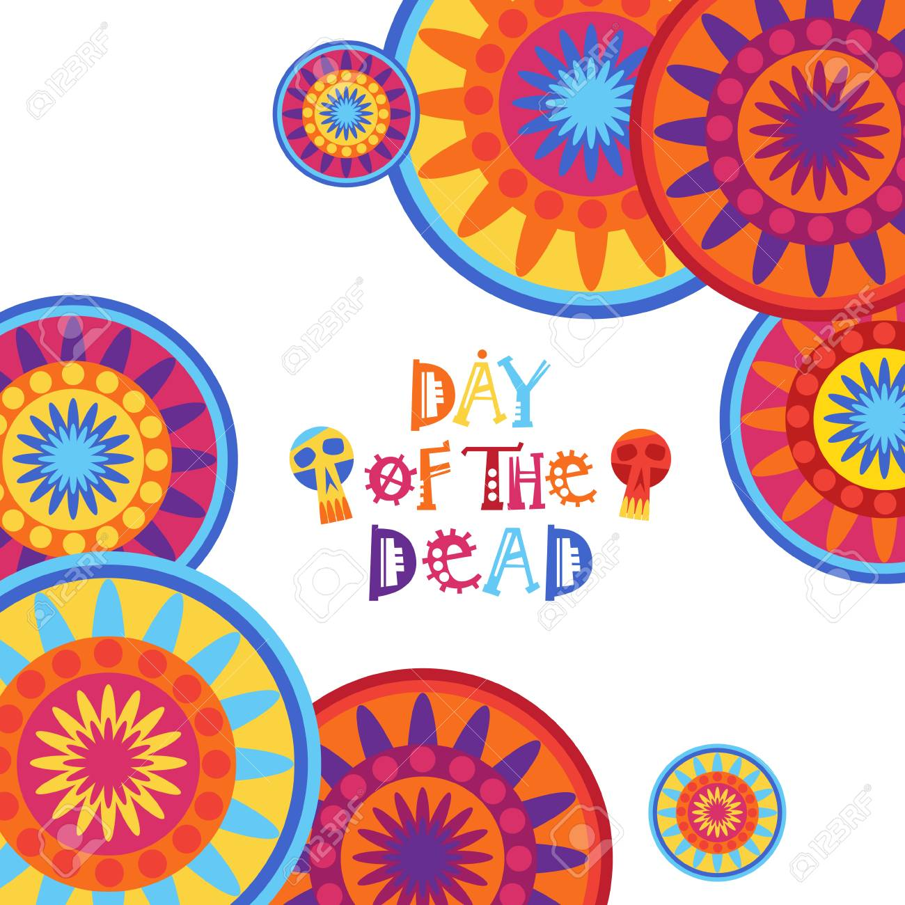 Day of dead traditional mexican halloween holiday party decoration day of dead traditional mexican halloween holiday party decoration banner invitation in flat illustration stopboris Images