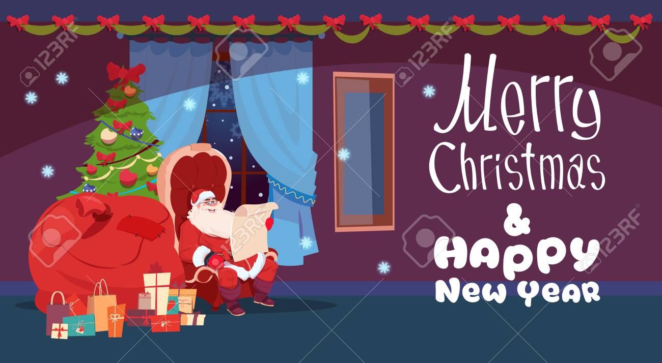 Frohe Weihnachten Und Guten Rutsch Ins Neue Jahr-Gruß-Karte Santa ...