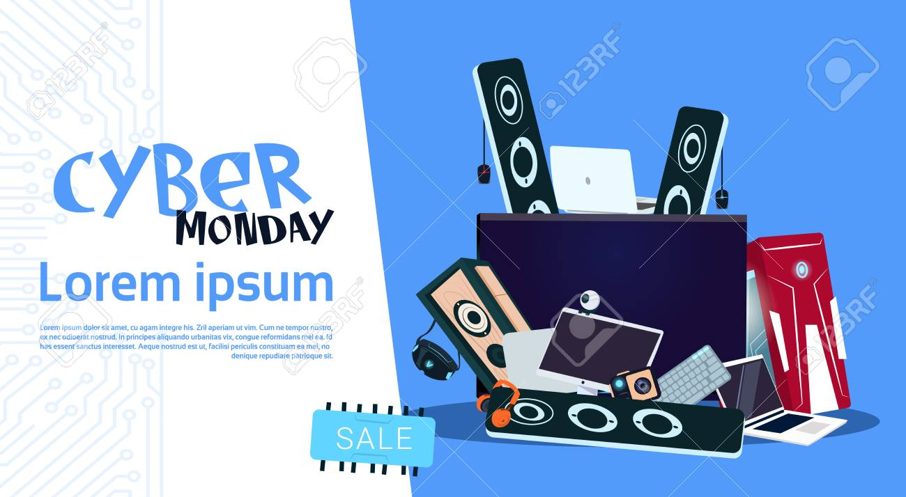 Cyber Monday Sale Banner Design With Pile Of Modern Electronics Royalty Free Cliparts Vectors And Stock Illustration Image 88618680