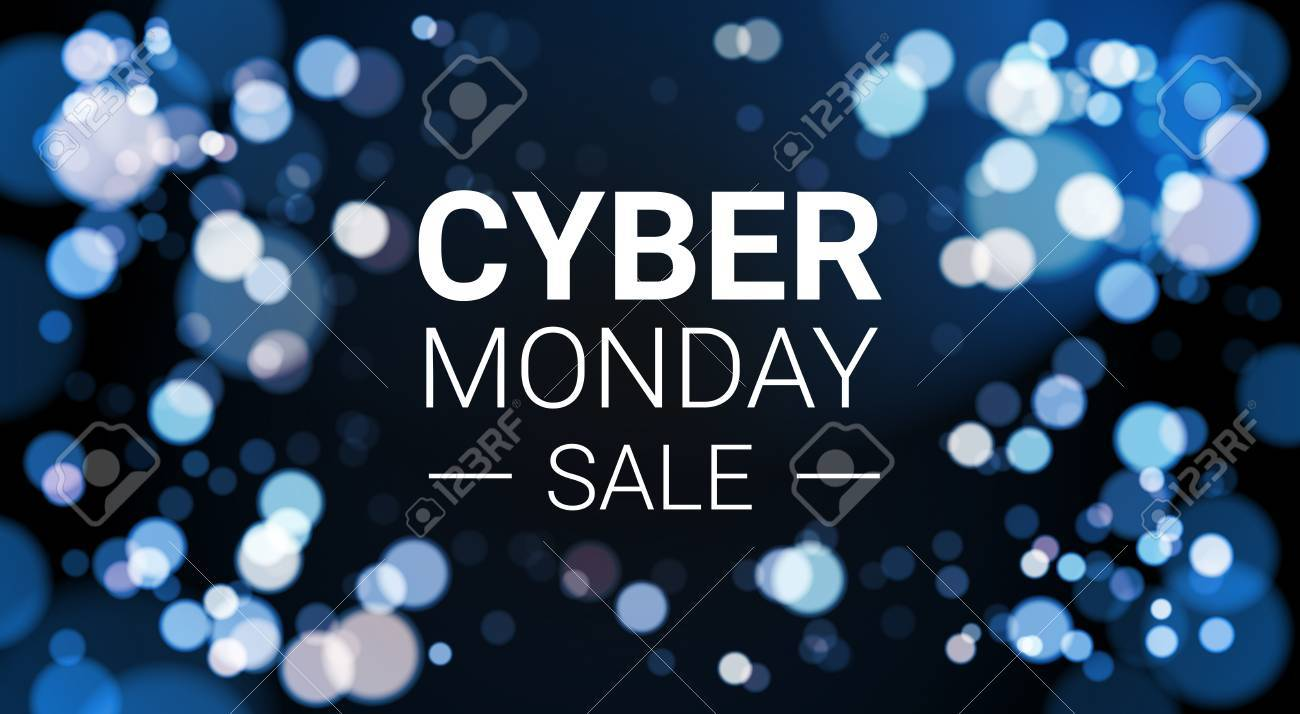 Cyber Monday Sale Flyer Design With White Lights Bokeh On Blue Background Holiday Discount Poster Banner Vector Illustration - 88676417