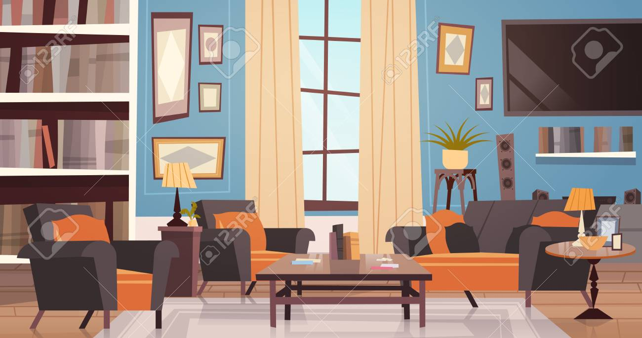 Cozy Living Room Interior Design With Modern Furniture Window Royalty Free Cliparts Vectors And Stock Illustration Image 88771738