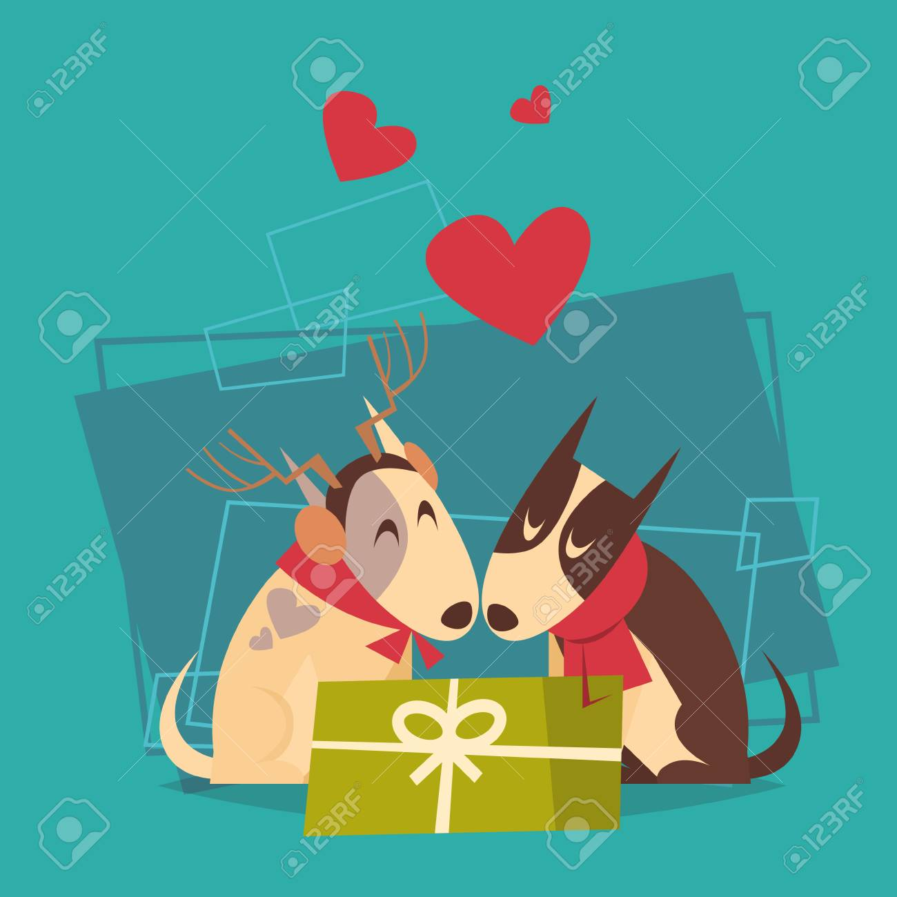 couple of dogs with gift box happy new year 2018 zodiac symbol icon flat vector illustration