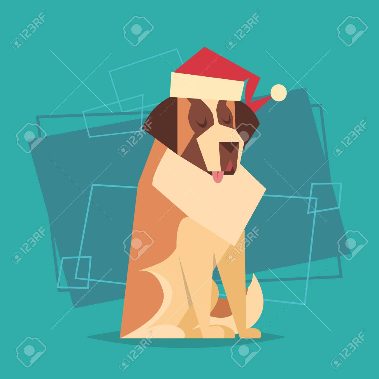 Dog wear santa hat happy new year 2018 zodiac symbol icon flat dog wear santa hat happy new year 2018 zodiac symbol icon flat vector illustration stock vector buycottarizona Image collections
