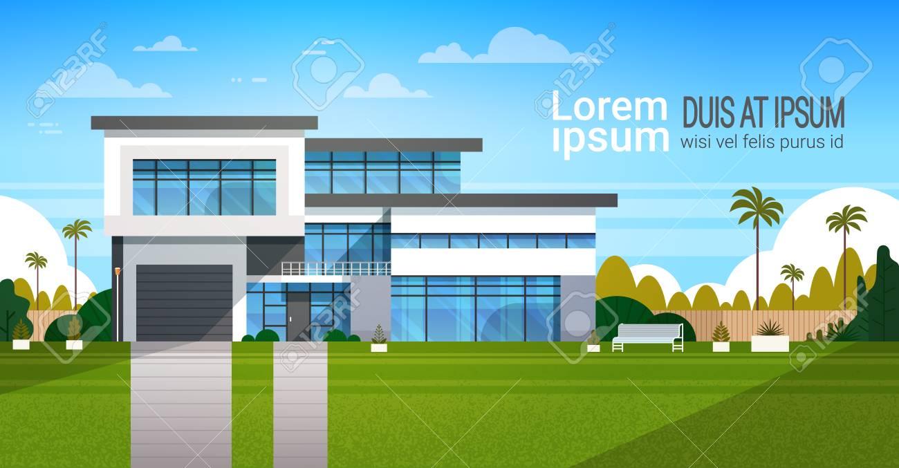 Modernes Häuschen-Haus-Äußeres, Landhaus-Gebäude-Fahne Mit Kopien ...