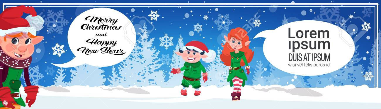 merry christmas horizontal banner cute elf characters holiday poster design concept flat vector illustration stock vector - Merry Christmas Elf