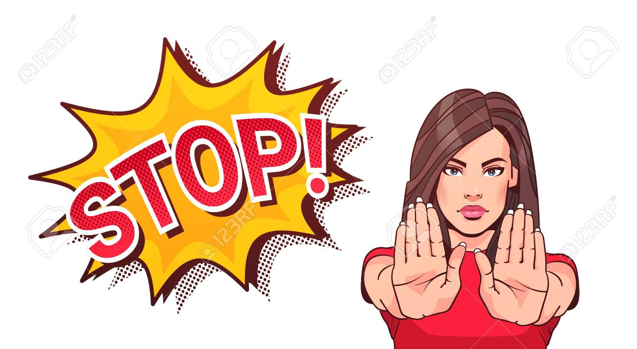 Woman Gesturing No Or Stop Sign Showing Raised Palms Vector Illustration - 90147083