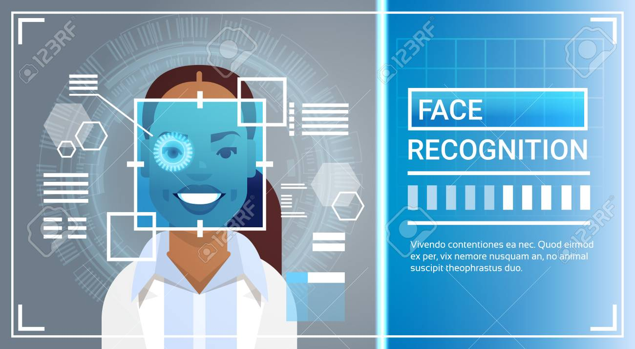 Face Recognition System Eye Retina Scanning Of African American Woman, Biometric  Identification Technology Access Control