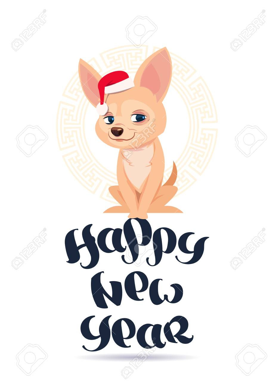 happy new year 2018 greeting card with cute chihuahua dog in santa hat vector illustration