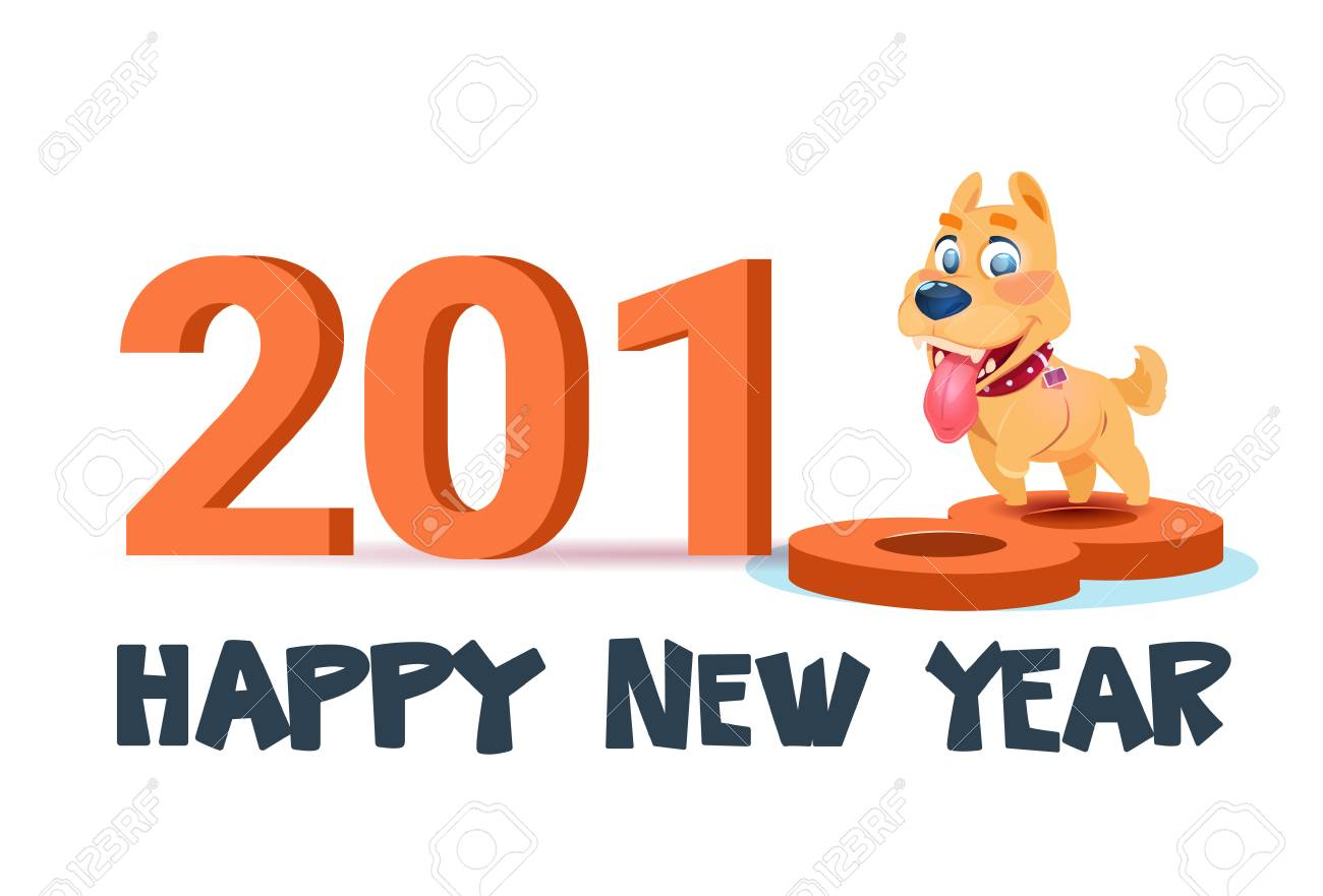 happy new year 2018 poster with cute dog on white background vector illustration stock