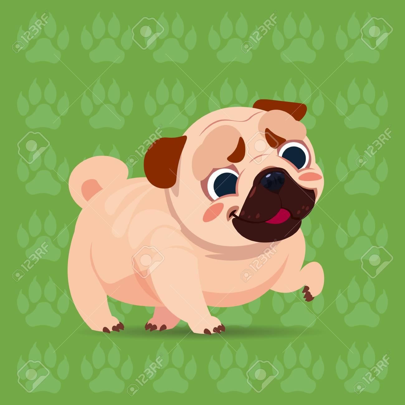 Perro Pug Dibujos Animados Feliz Sentado Sobre Fondo De Huellas