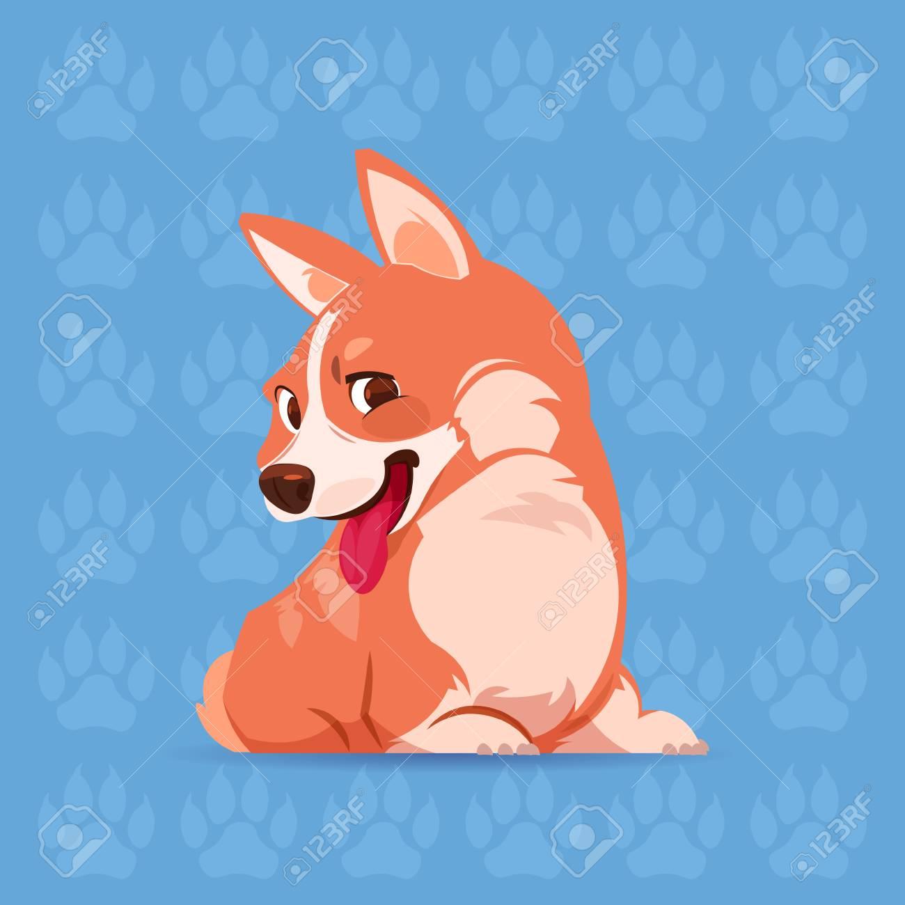 Perro Corgi Dibujos Animados Feliz Sentado Sobre Fondo De Huellas