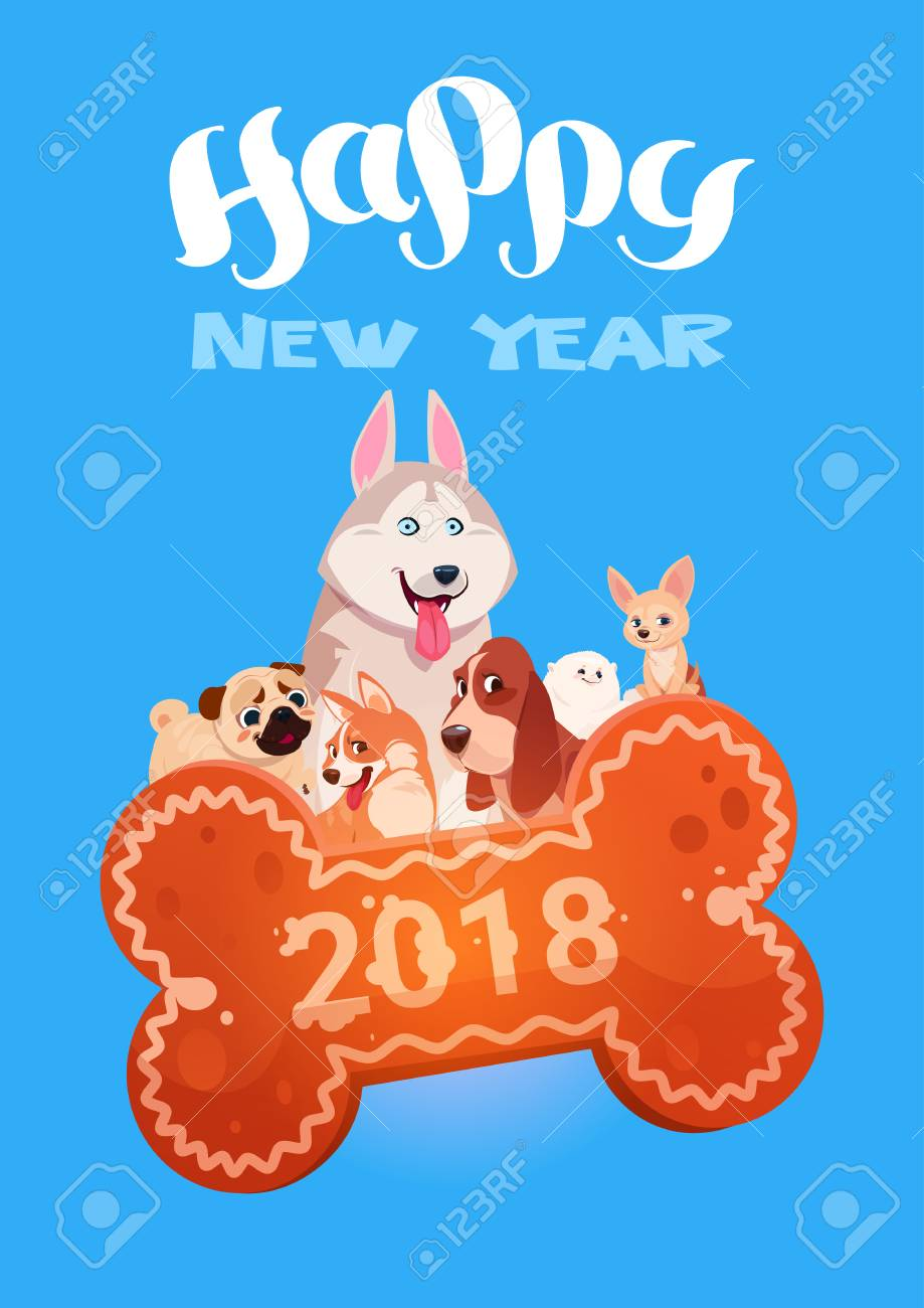 Happy New Year 2018 Greeting Card With Cute Dogs On Bone Shape