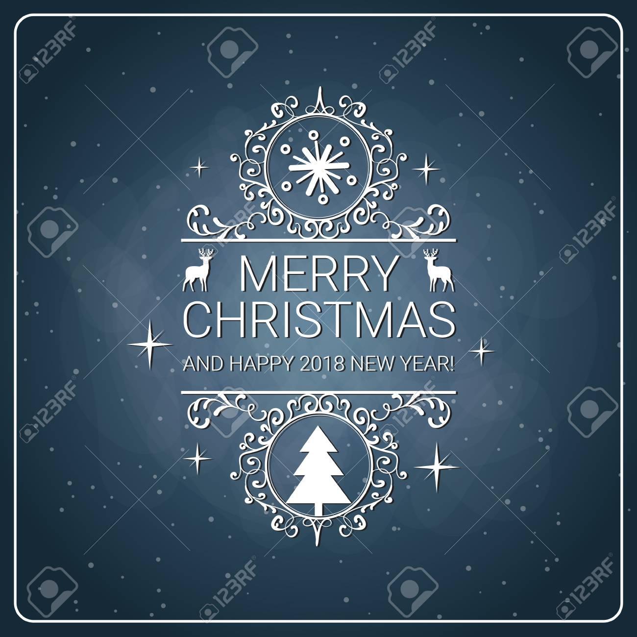 Merry Christmas Poster 2018.Merry Christmas Poster Retro Style On Chalkboard Background New