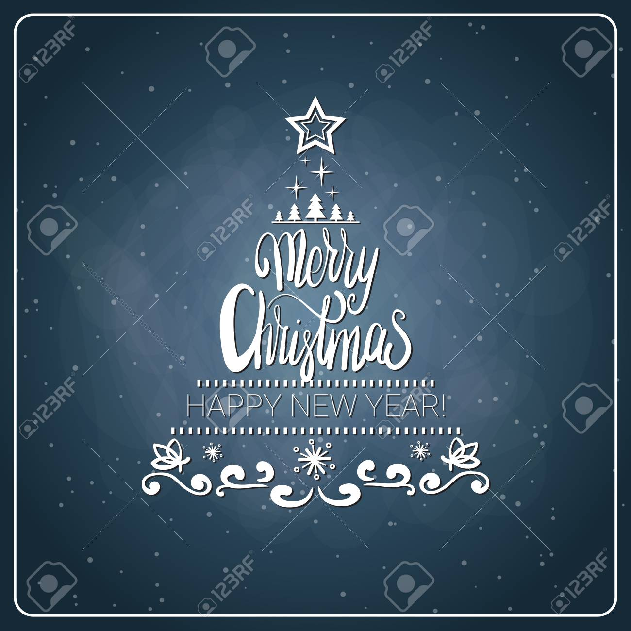 Christmas Board Design.Vintage Merry Christmas And Happy New Year Calligraphic Design