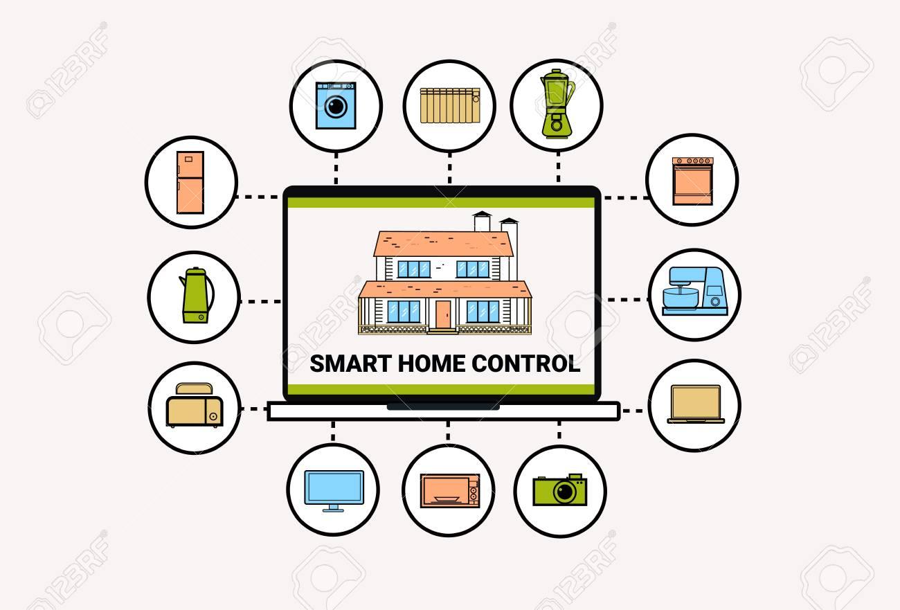 Dispositifs de maison intelligente système domotique concept de ligne  moderne ligne mince ligne illustration vectorielle