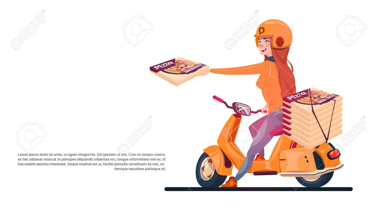 Pizza Delivery Service Young Girl Riding Electric Scooter Shipping