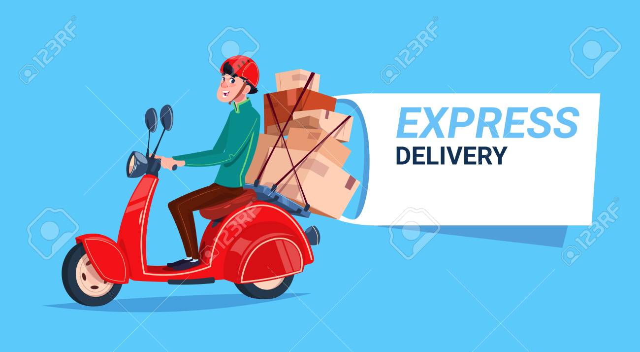 Fast delivery service icon. Courier boy riding motor bike. Template banner with copy space. Flat vector illustration. - 93452058