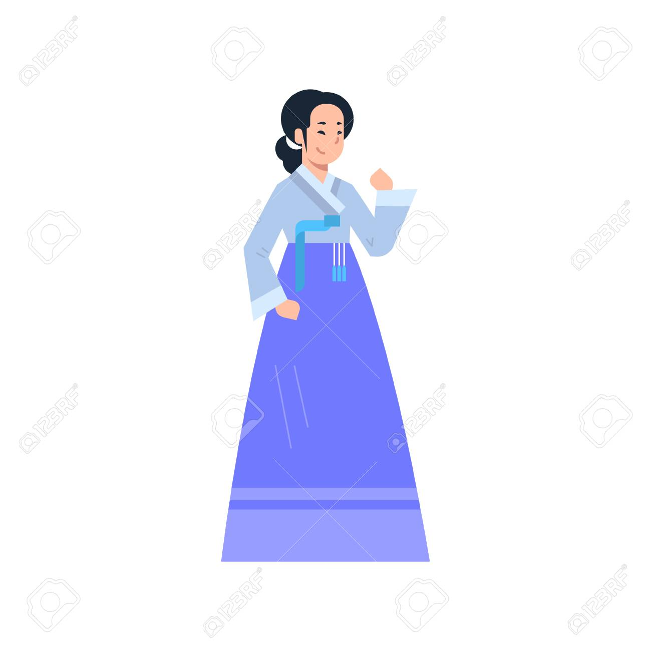 Korean Traditional Clothes Woman Wearing Ancient Korean Dress