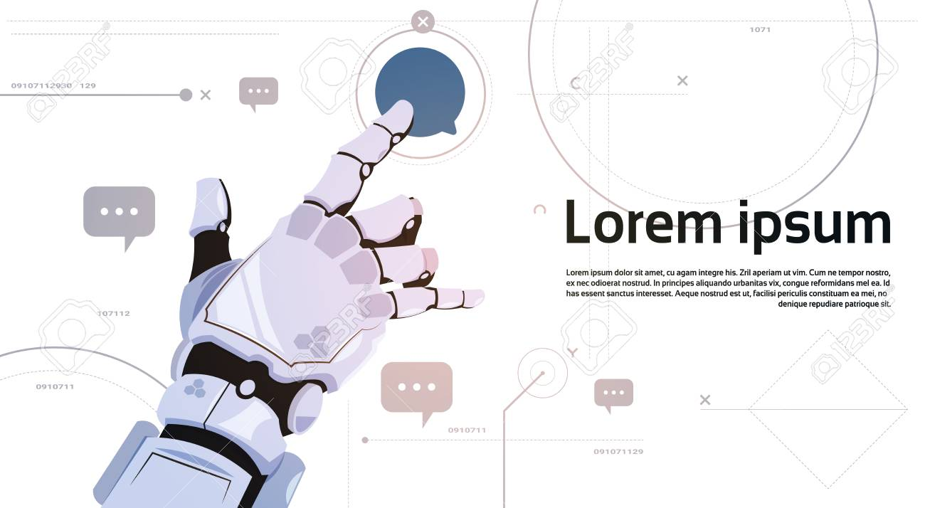 Robotic Hand Touch Chat Bubble Icon Robots Communication And