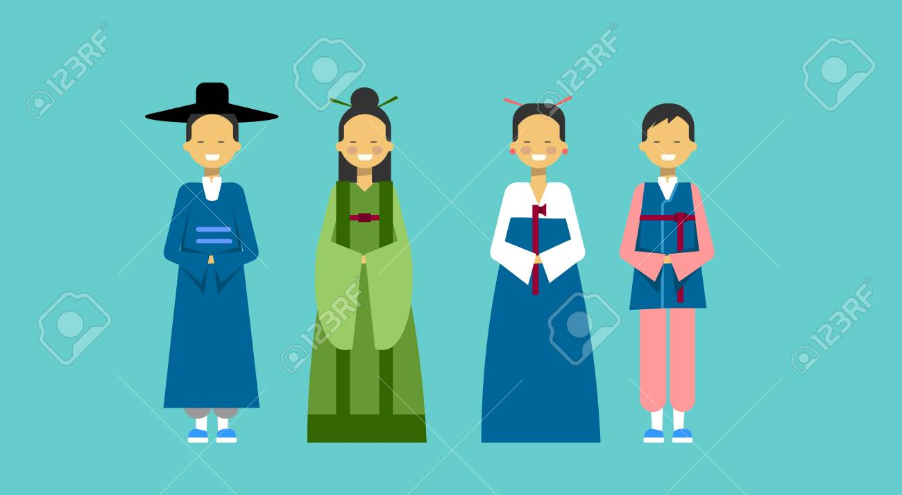 Asian People Wearing Traditional Dress Male And Female In National