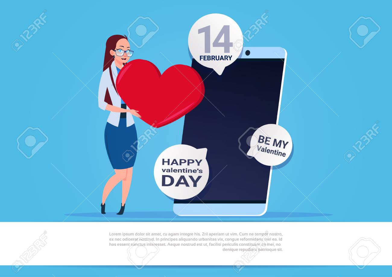 Woman use mobile phone sending happy valentines day greeting royalty vector woman use mobile phone sending happy valentines day greeting m4hsunfo