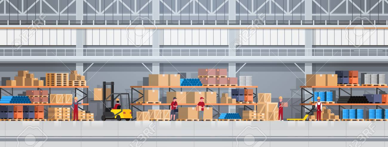 People Working In Warehouse Lifting Box With Forklift. Logistic Delivery Service Concept Horizontal Banner Flat Vector Illustration - 95254390