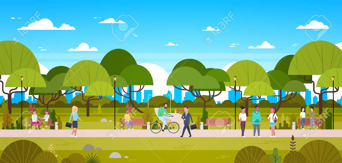 People In Park Relaxing In Urban Nature Over City Skyline Background Walking Riding Bicycle And Communicating Flat Vector Illustration - 95682941