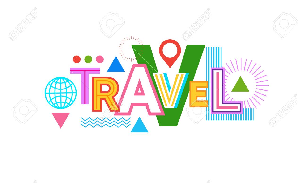 travel word web banner abstract creative template background