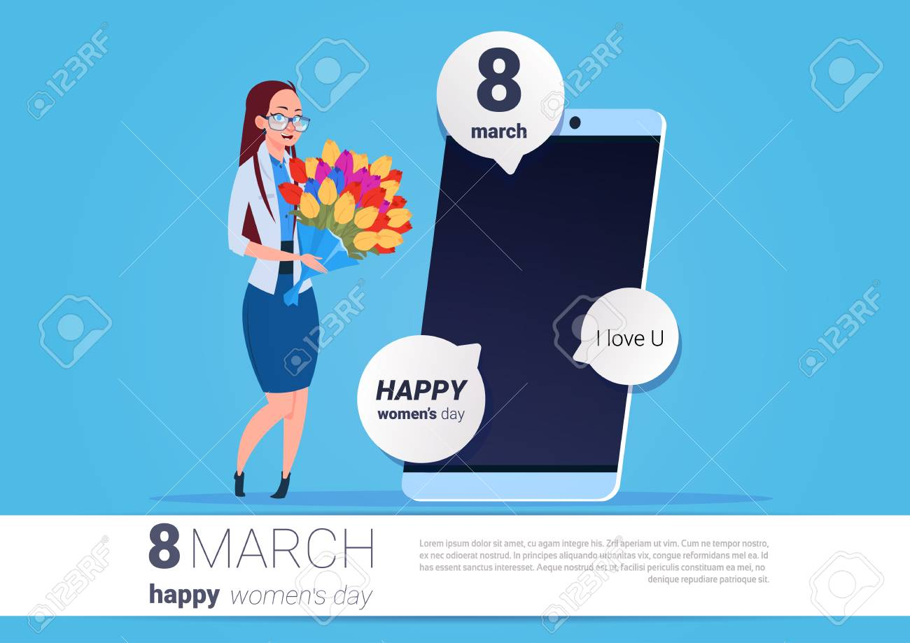 Happy woman hold flowers standing over smart phone with greeting happy woman hold flowers standing over smart phone with greeting message 8 march holiday concept vector m4hsunfo