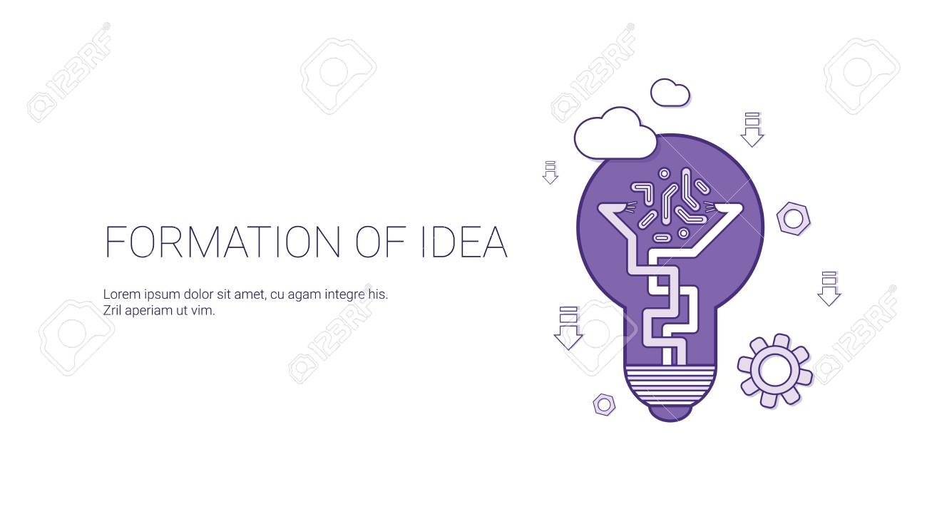 Formation Of Idea Creative Process Concept Template Web Banner With ...