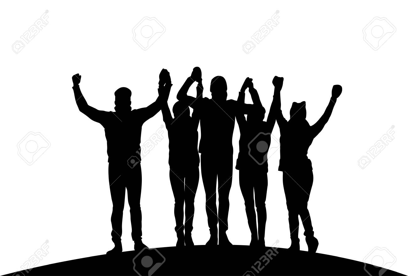 Group Of Businesspeople Holding Raised Hands Happy Successful Team Black Silhouettes Vector Illustration - 97071211