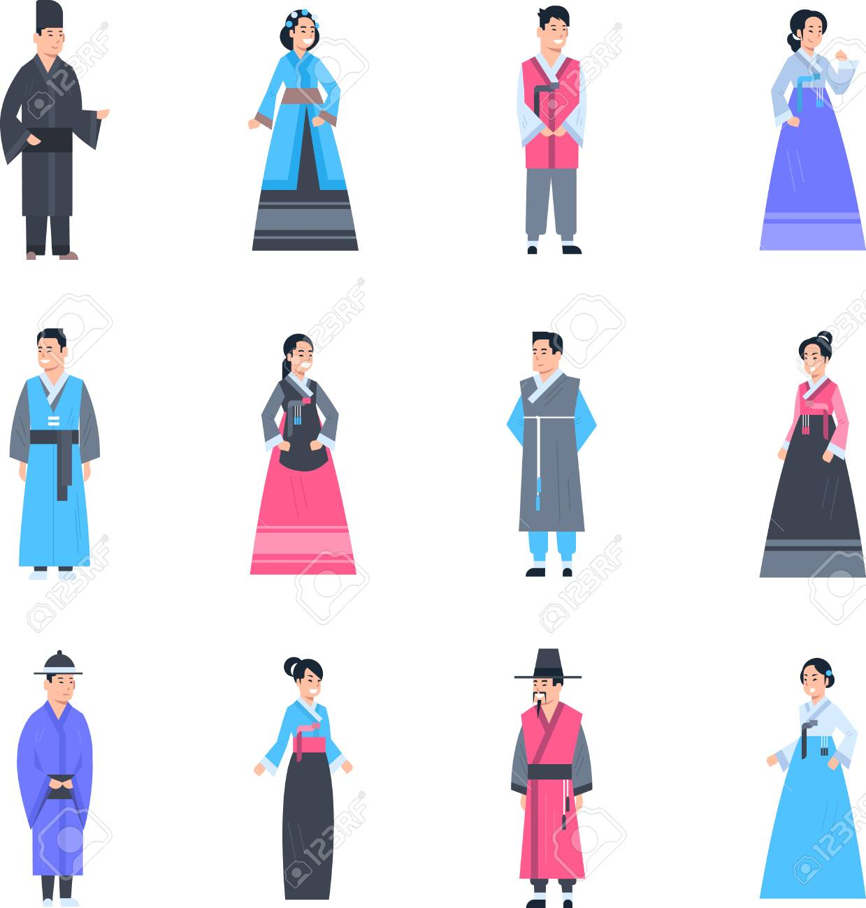 a854acd6399c7 Korea Traditional Clothes Set Of Women And Men Wearing Ancient Costume  Isolated Asian Dress Collection Flat