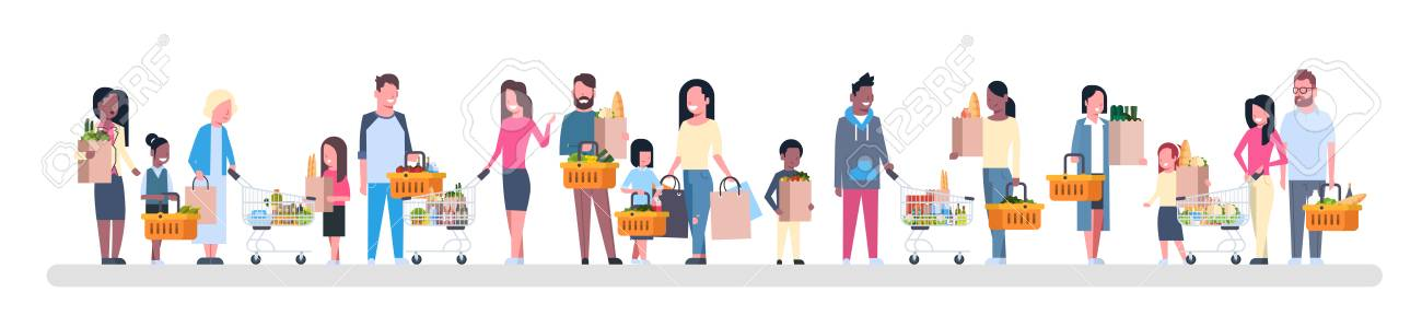Group of people holding paper bags flat illustration - 97351145