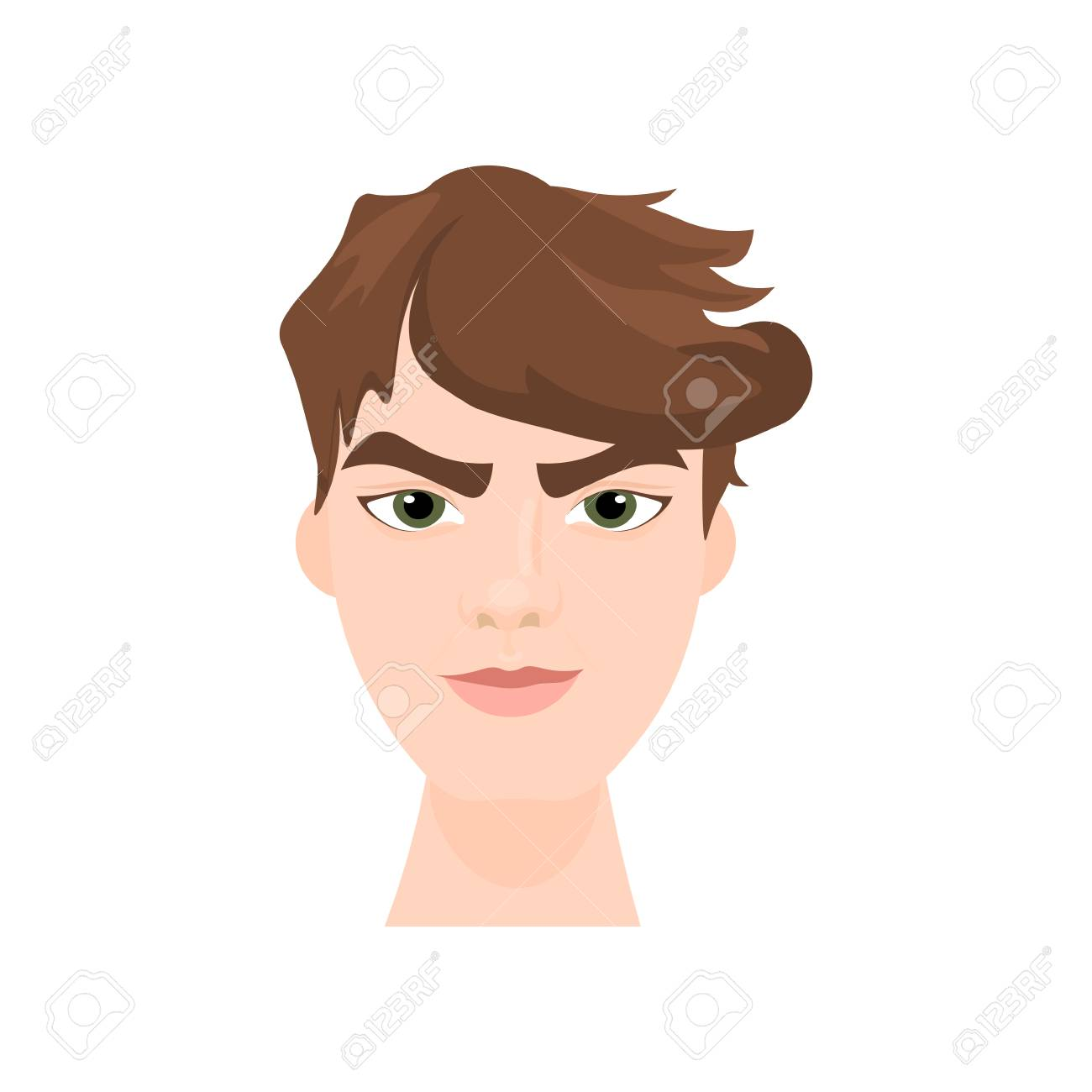 Hipster Man Face With Stylish Hairstyle Isolated Icon Flat