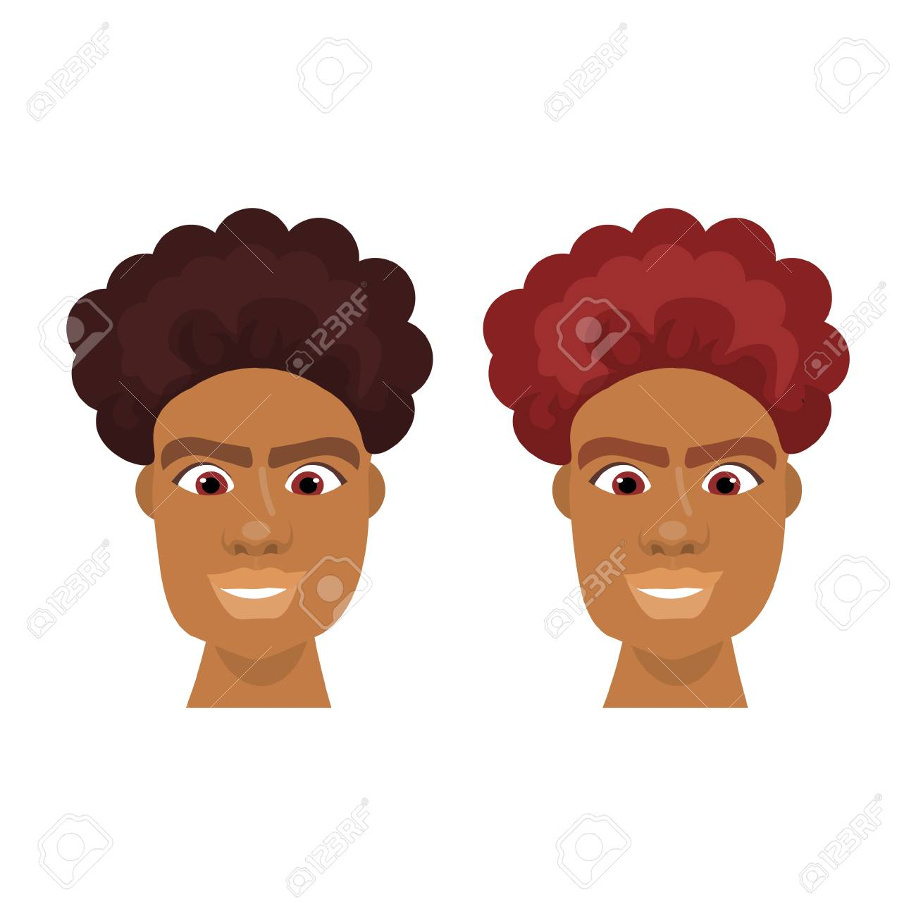 Set Of Hipster Men African American Face With Stylish Hairstyle