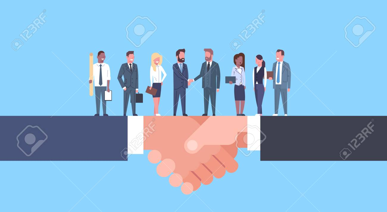 Two Businessmen Shaking Hands With Team Of Businesspeople, Business Agreement And Partnership Concept Flat Vector Illustration - 97509409