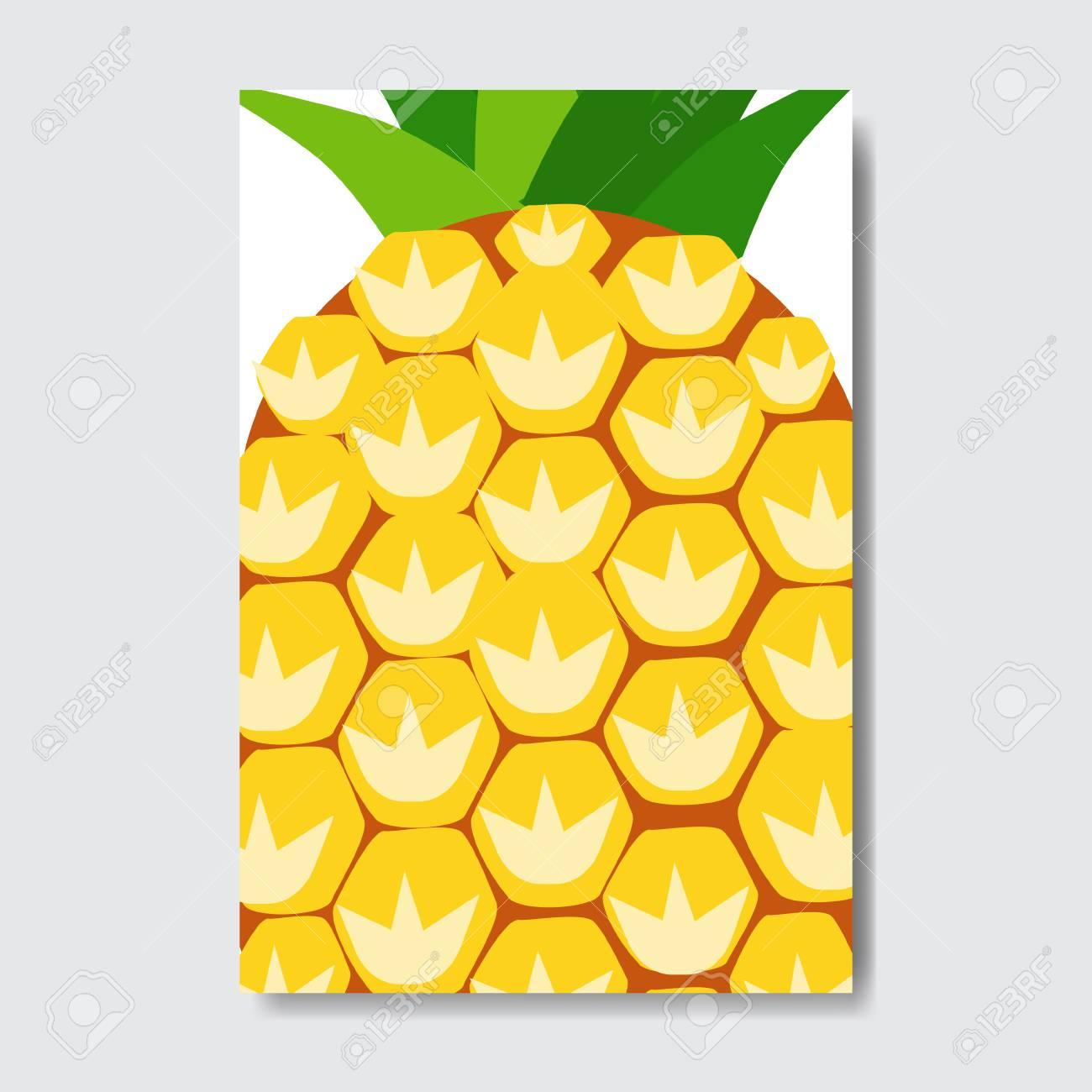 cut pineapple template card slice fresh fruit poster on white