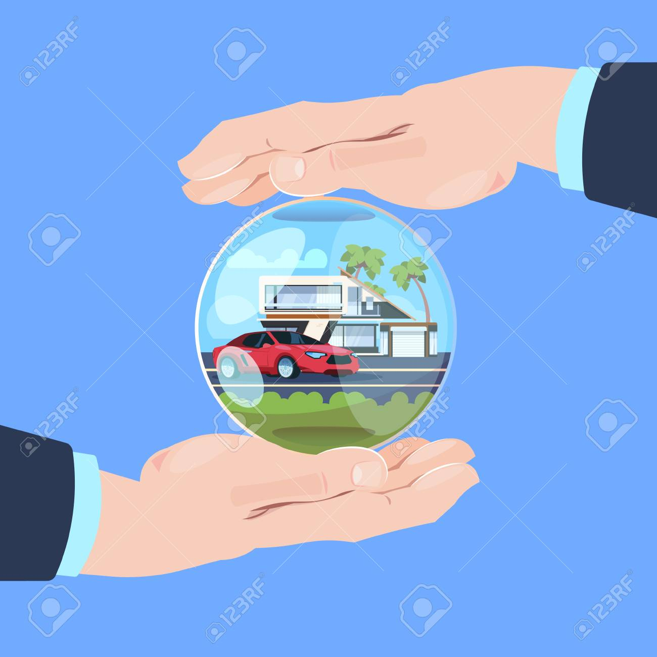 insurance service hand protective gesture bubble car house on blue background flat vector illustration - 103435368